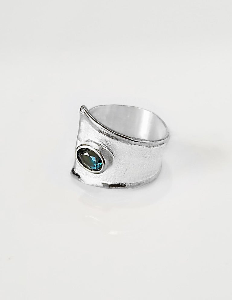 Yianni Creations Blue Topaz Fine Silver Solitaire Adjustable Wide Band Ring In New Condition For Sale In Astoria, NY