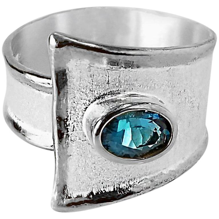 Yianni Creations Blue Topaz Fine Silver Solitaire Adjustable Wide Band Ring For Sale