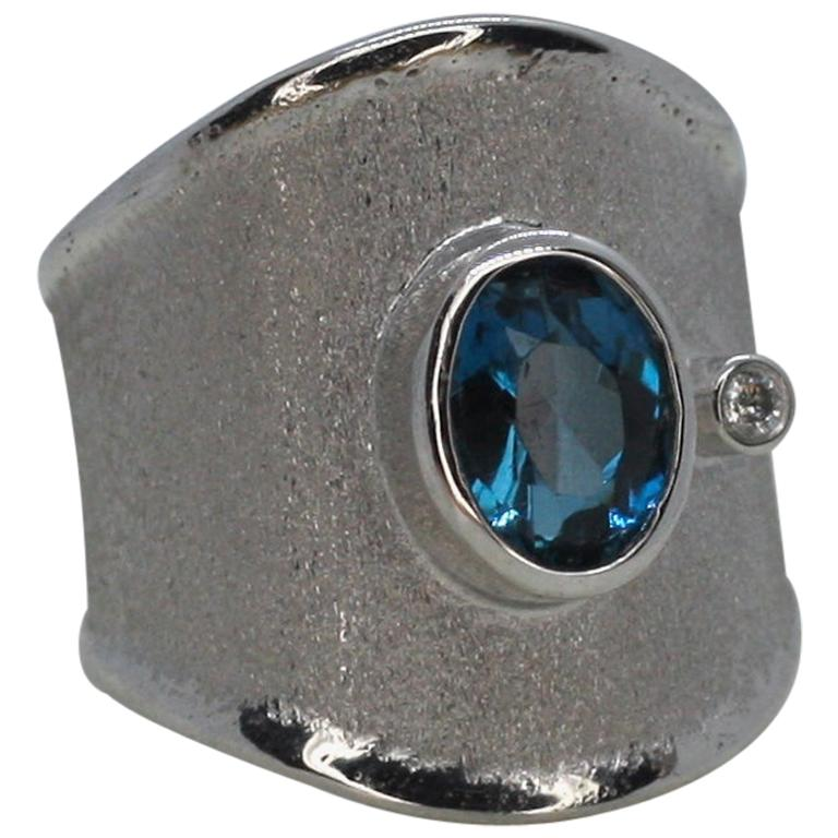 Yianni Creations London Blue Topaz and White Diamond Fine Silver Wide Band Ring