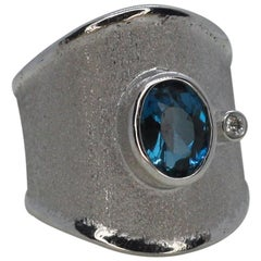Yianni Creations Fine Silver Diamond and London Blue Topaz Wide Band Ring