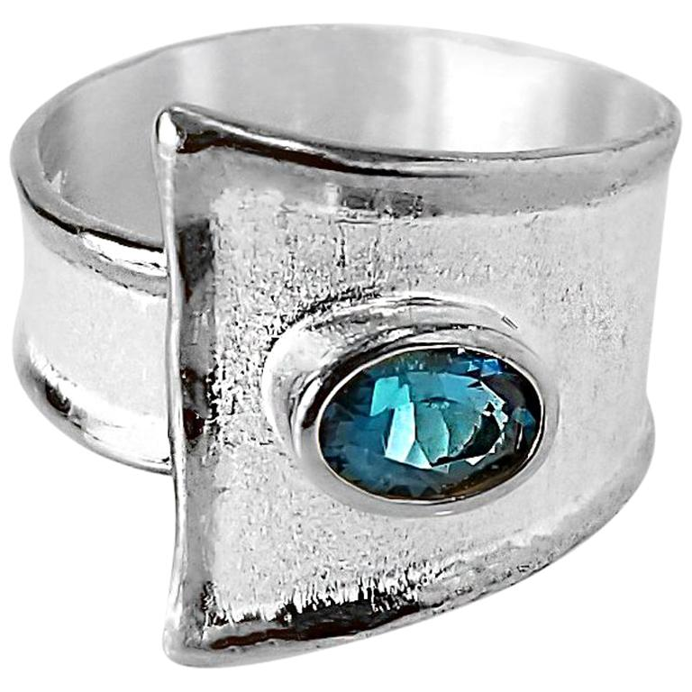 Yianni Creations Fine Silver London Blue Topaz Adjustable Unique Wide Band Ring