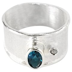 Yianni Creations Fine Silver London Blue Topaz and Diamond Thin Band Ring