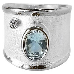Yianni Creations Fine Silver Natural Oval Aquamarine and Diamond Wide Band Ring