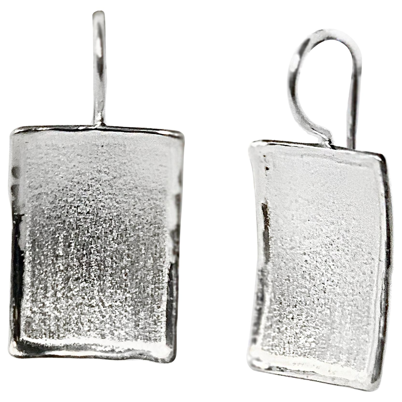 Yianni Creations Fine Silver Palladium Plated Rectangular Shape Dangle Earrings