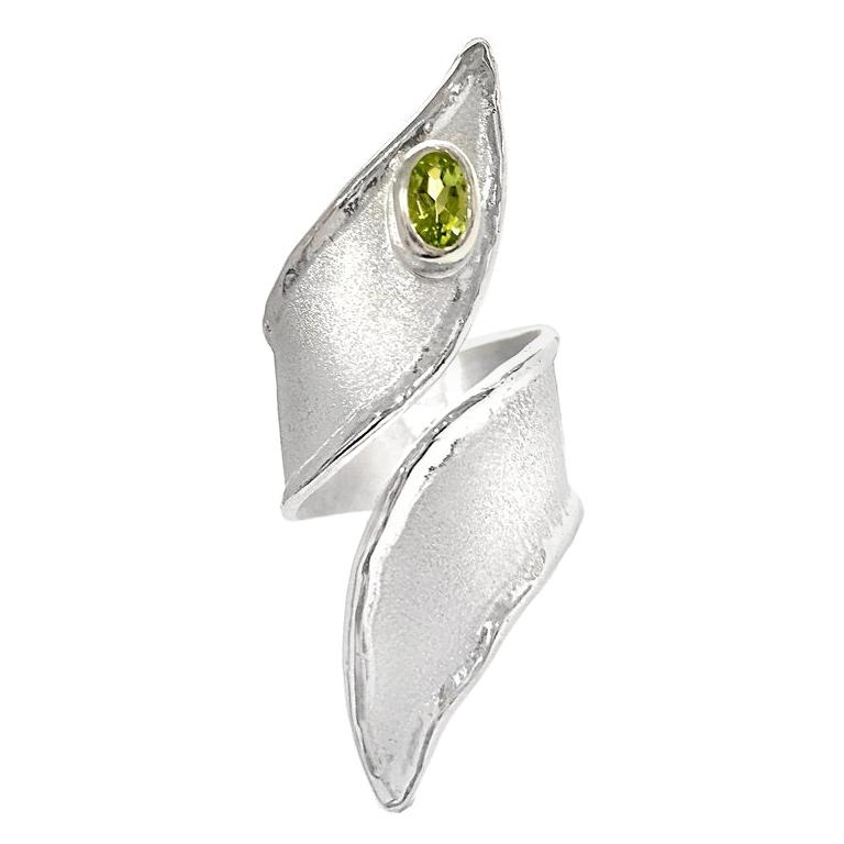 Yianni Creations Peridot Fine Silver and Palladium Long Band Adjustable Ring For Sale