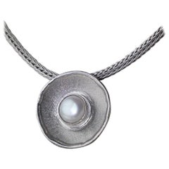 Yianni Creations Fine Silver Round Pendant Enhancer with Pearl