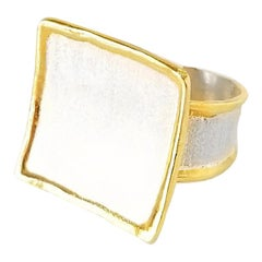Yianni Creations Fine Silver Square Ring with 24 Karat Gold Overlay Liquid Edge