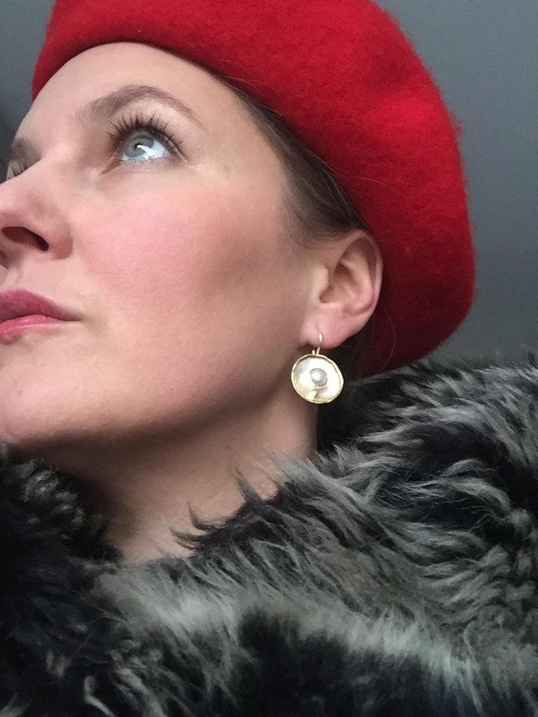 Women's Yianni Creations Fresh Water Pearl Dangle Earrings in 18 Karat Yellow Gold For Sale