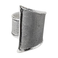 Yianni Creations Geometric Fine Silver and Oxidized Rhodium Artisan Ring