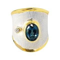 Yianni Creations London Blue Topaz and Diamond Fine Silver 24 Karat Gold Ring