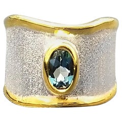 Yianni Creations London Blue Topaz Band Ring in Fine Silver and 24 Karat Gold