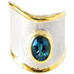 Yianni Creations London Blue Topaz Fine Silver and 24 Karat Gold Two-Tone Ring