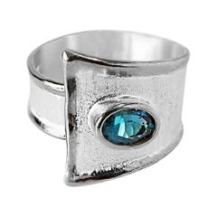 Yianni Creations London Blue Topaz Fine Silver and Palladium Adjustable Ring