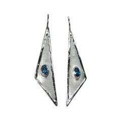 Yianni Creations Oval London Blue Topaz Fine Silver Dangle Long Shinny Earrings