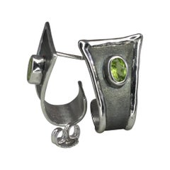 Yianni Creations Oval Peridot Fine Silver and Black Rhodium Stud Hoop Earrings