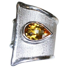 Yianni Creations Pear Shape Citrine Fine Silver and Palladium Wide Band Ring