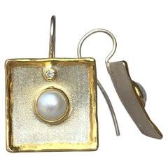 Yianni Creations Pearl and Diamond Fine Silver 24 Karat Gold Dangle Earrings