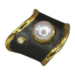 Yianni Creations Pearl and Diamond Fine Silver Rhodium and 24 Karat Gold Ring