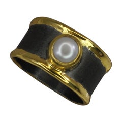 Yianni Creations Pearl Band Ring in Fine Silver Rhodium and 24 Karat Gold