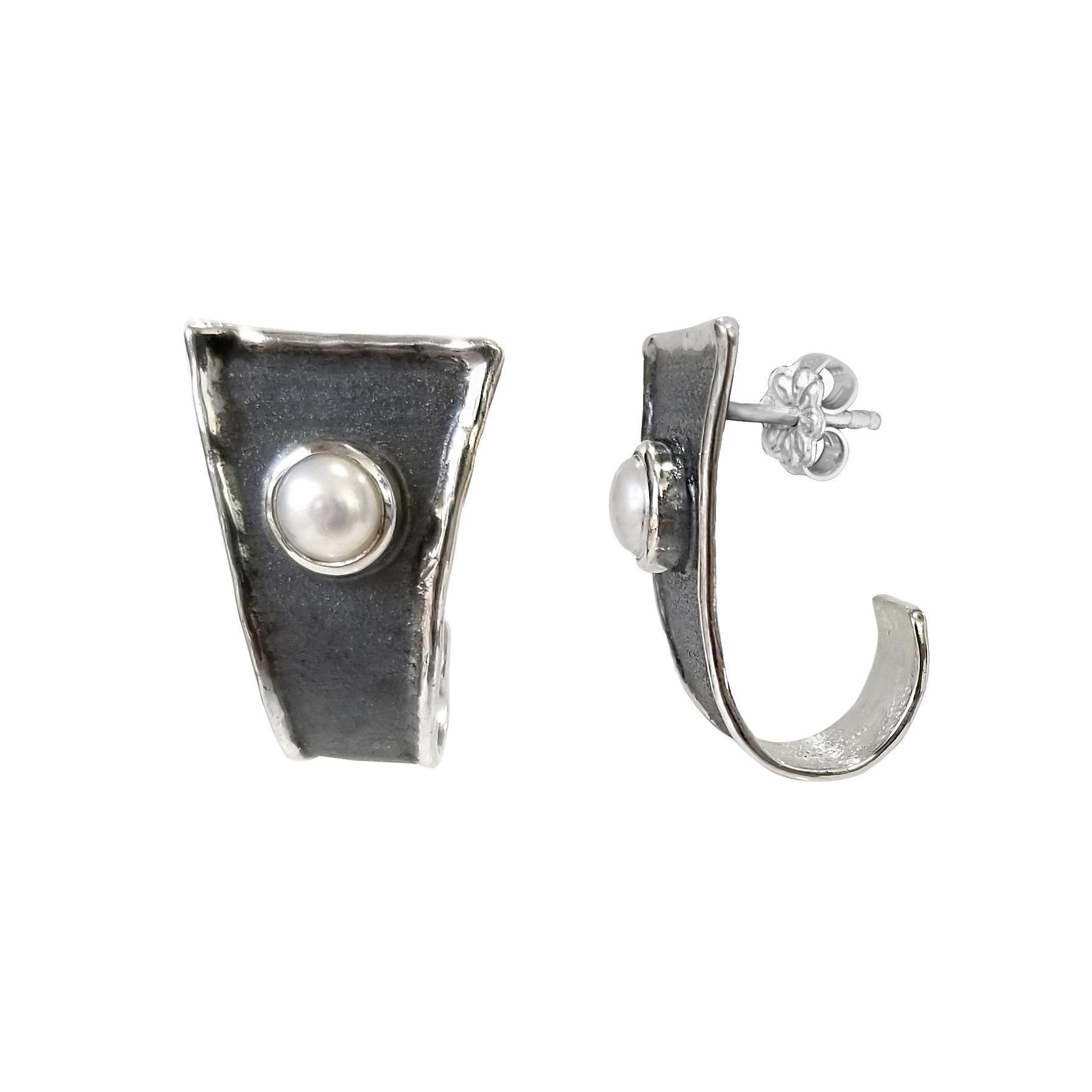 Yianni Creations Pearl Fine Silver and Black Rhodium Handmade Earrings