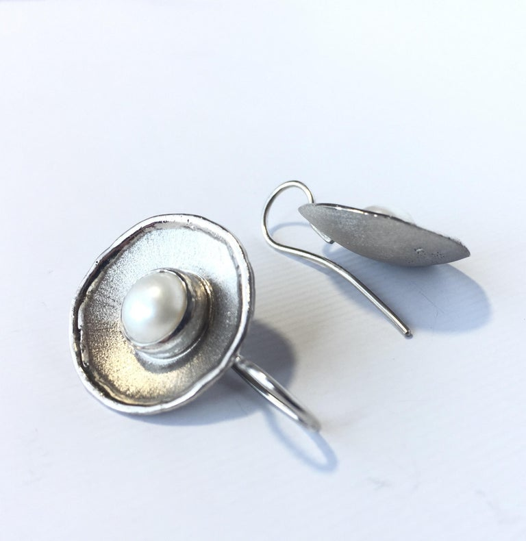 Contemporary Yianni Creations Pearl Fine Silver Palladium Earrings For Sale