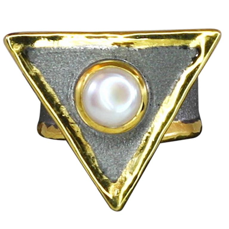 Yianni Creations Fine Silver Black Rhodium and 24 Karat Gold Pearl Two-Tone Ring