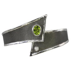 Yianni Creations Peridot and Diamond Fine Silver and Black Rhodium Cuff Bracelet