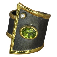 Yianni Creations Peridot and Diamond Ring in Fine Silver Rhodium and 24 K Gold