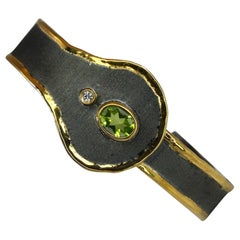 Yianni Creations Peridot and Diamond Silver Bracelet with Rhodium and 24 K Gold