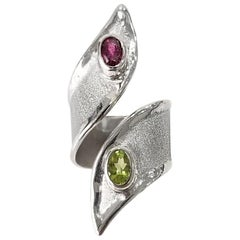 Yianni Creations Peridot and Garner Fine Silver and Palladium Asymmetrical Ring