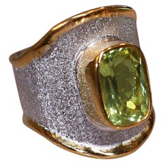 Yianni Creations Peridot Fine Silver and 24 Karat Gold Two-Tone Wide Band Ring