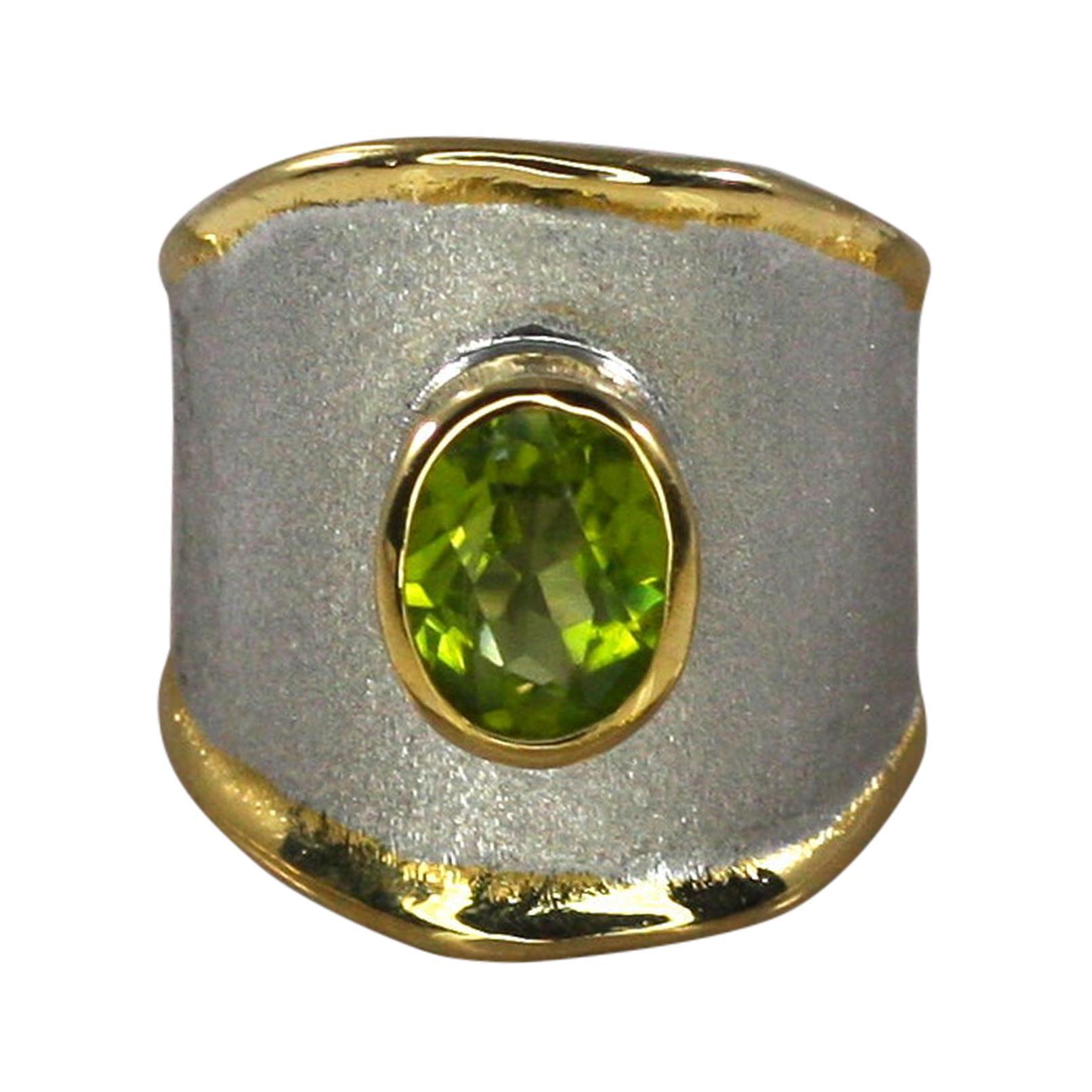 Yianni Creations Peridot Fine Silver 24 Karat Gold Palladium Wide Band Ring