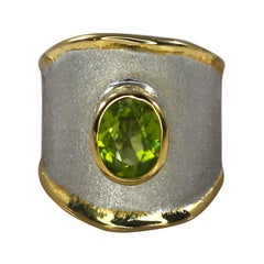 Yianni Creations Peridot Fine Silver Ring Finished with Palladium and Pure Gold