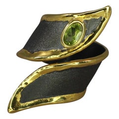 Yianni Creations Peridot Silver Ring Finished with Rhodium and 24 Karat Gold