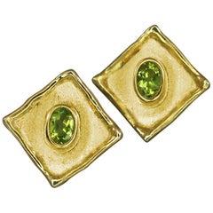 Yianni Creations Peridot Stud Earrings in 18 Karat Gold and Rhodium