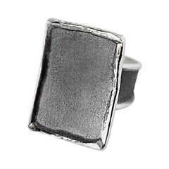 Yianni Creations Rectangular Fine Silver and Oxidized Rhodium Artisan Ring