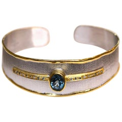 Yianni Creations Silver and Gold Diamond and London Blue Topaz Cuff Bracelet