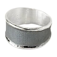 Yianni Creations Simplified Fine Silver and Oxidized Rhodium Artisan Ring