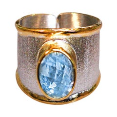 Yianni Creations Sky Blue Topaz in Fine Silver 24 Karat Gold Two-Tone Band Ring