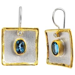 Yianni Creations Topaz and Diamond Fine Silver and 24 Karat Gold Dangle Earrings