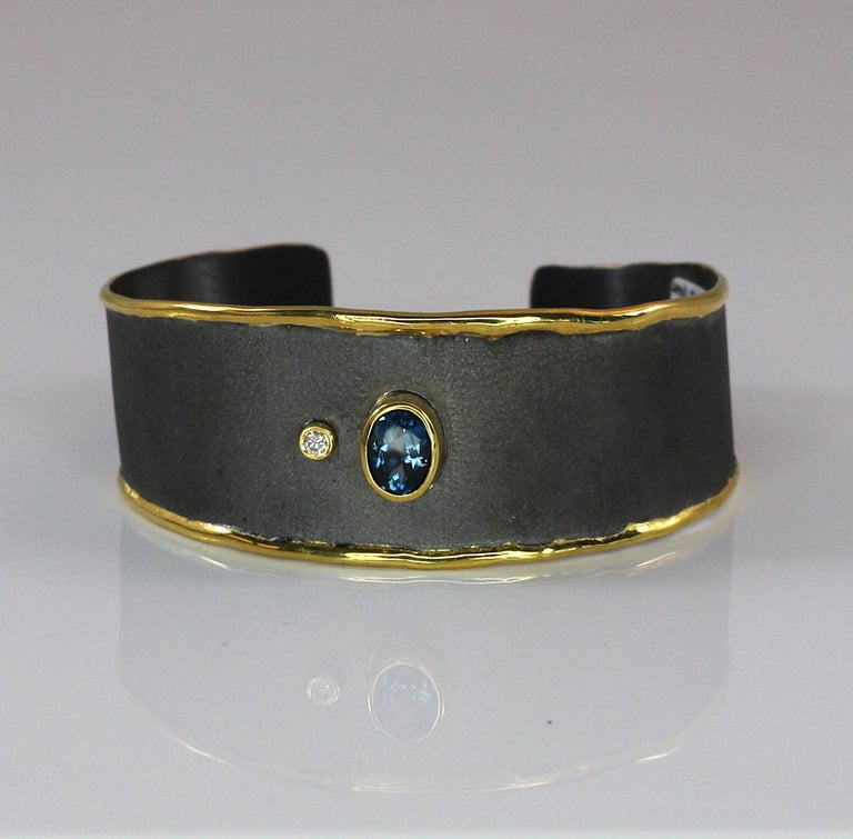 Women's Yianni Creations Topaz Diamond Bracelet in Silver Black Rhodium and Pure Gold For Sale