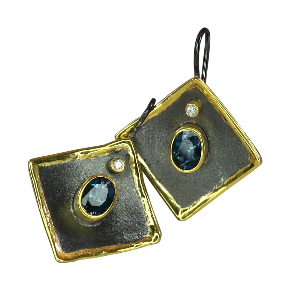 Yianni Creations Topaz Diamond Fine Silver Black Rhodium 24 Karat Gold Earring