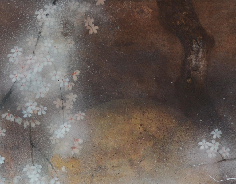 Cherry Tree I, Contemporary Nihonga (Japanese Painting) - Gold Figurative Painting by Yiching Chen