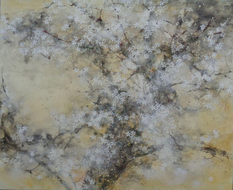 Cherry Tree Season, Contemporary Nihonga (Japanese Painting) - Mixed Media Art by Yiching Chen