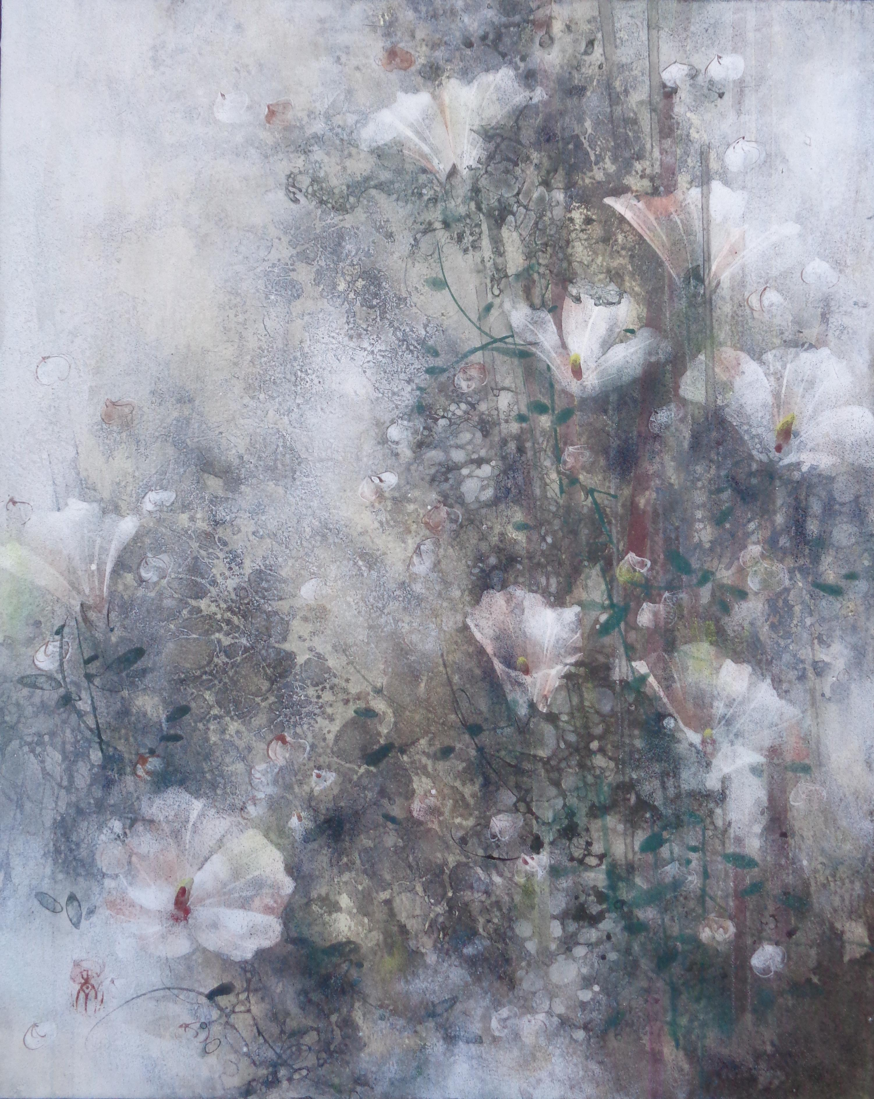 Flax Field (Linière) by Chen Yiching - Contemporary Nihonga Painting, Flora