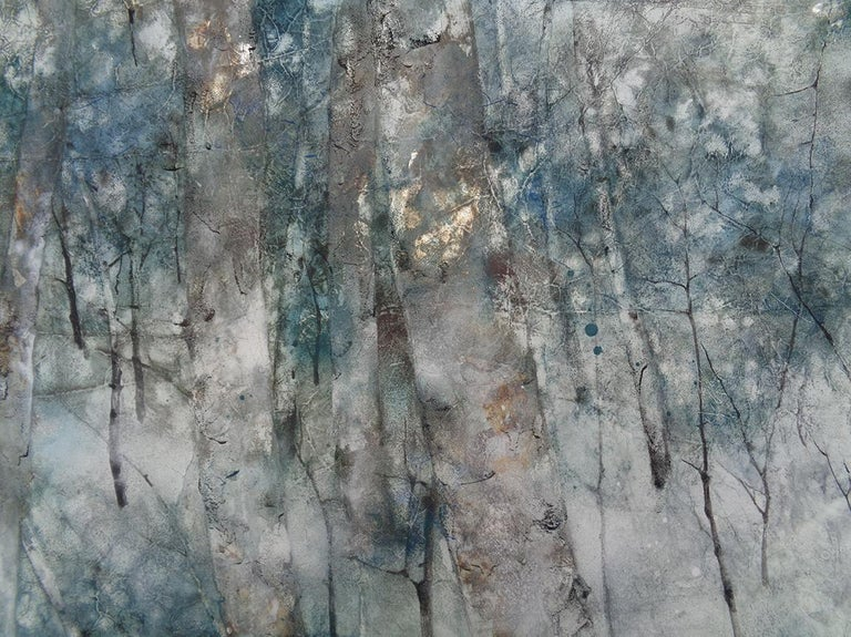 Forgotten Time (2020) is a painting by contemporary Taiwanese artist Yiching Chen.  Earth and mineral pigments, silver leaves, Japanese paper mounted on wood, 72.5 x 92.5 cm. Artwork sold unframed. As a specialist of Nihonga (traditional Japanese