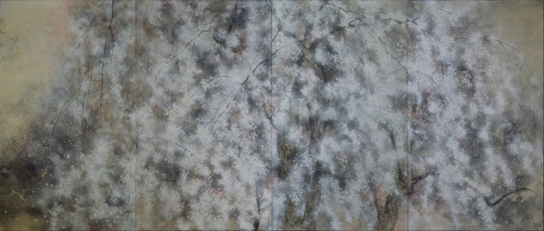 Hanami - Large-Scale Contemporary Nihonga Painting - Gray Figurative Painting by Yiching Chen