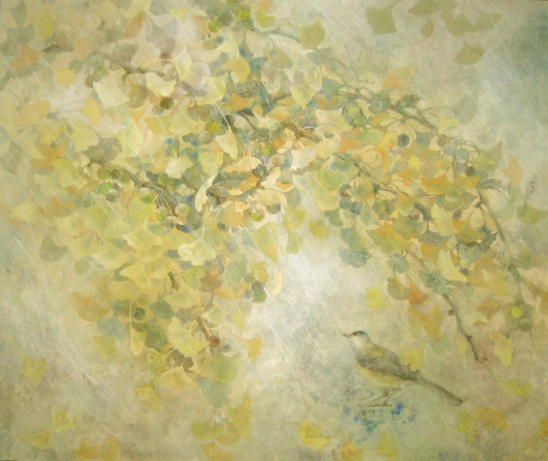 Hiver (Winter, 2009) is a painting by contemporary Taiwanese artist Yiching Chen. As a specialist of Nihonga (traditional Japanese painting), the painter expresses all the poetry she finds in nature with delicacy and meticulousness. This one-off is