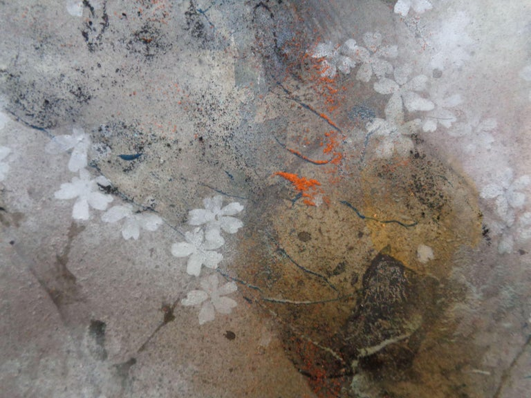 Misty Moon - Japanese-style painting (Nihonga) - Silver Landscape Painting by Yiching Chen