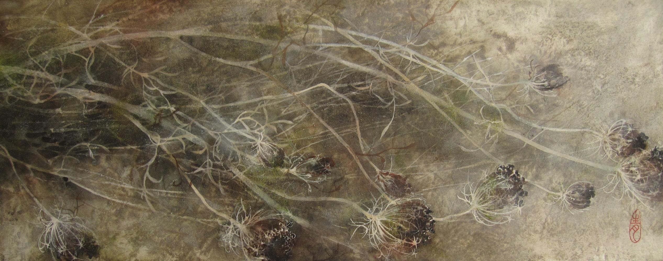 Umbel (Ombelle) by Chen Yiching - Contemporary Nihonga Painting, Flora